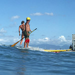 stand up paddle surfer in 1980