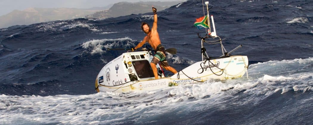 Chris Bertish close to finishing his Atlantic crossing.