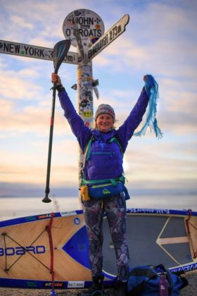 Paddle Against Plastic's Cal Major on reaching John O'Groats.