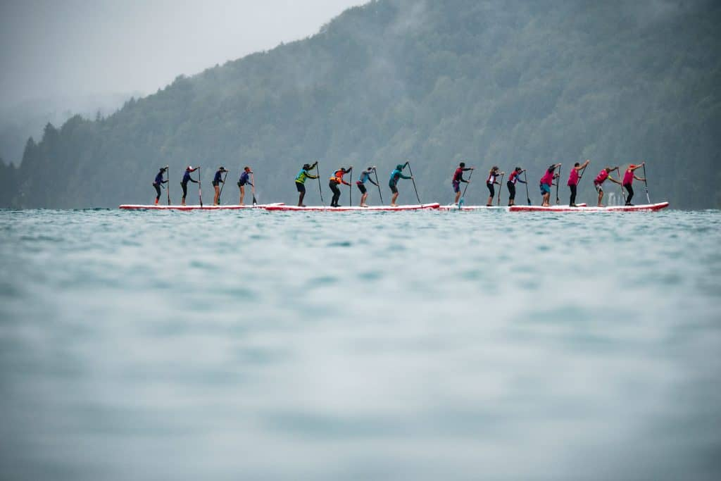 The race in progress as the teams battle it out.