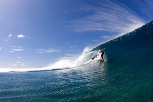 Ekolu Kalama Stand Up Paddle Surfing in Tahiti
