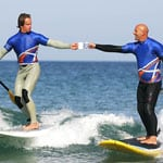 Stand up paddle surfing and drinking tea